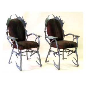 fanciful pair of american 1970's aluminum antler arm chairs designed by Arthur Court, San Francisco (1928-2015)