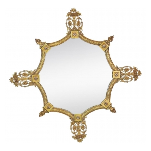 shapely and good quality english art deco gilt-bronze octagonal mirror with neoclassical decoration