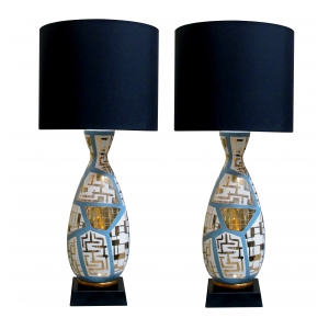 striking and tall pair of italian mid-century bottle-form lamps with gilt geometric decoration