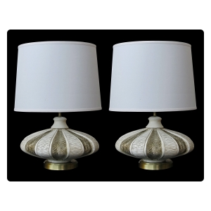 mod pair of american mid-century chalkware saucer-form lamps