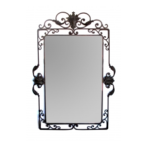 well-crafted french art deco iron scrollwork mirror with beveled plate