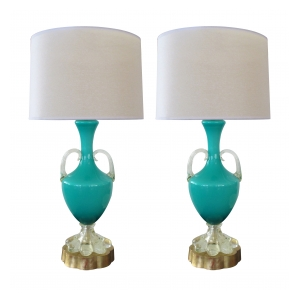 good quality pair of italian murano mid-century teal cased-glass double-handled urn-form lamps