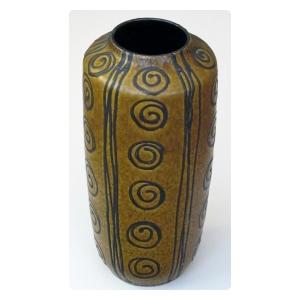 tall and striking West German 1960's ochre glazed vase with dark brown drip-glaze decoration