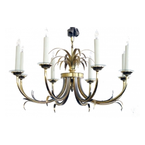 a stylish french mid-century maison charles style brass and brushed steel 8-light chandelier