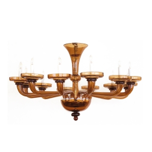 epoca, San Francisco mid-century: a large and richly-colored murano 12-light amber glass chandelier