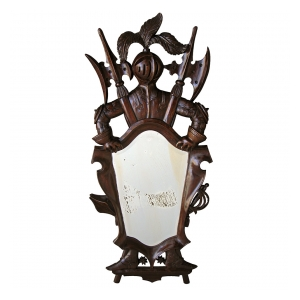 a charming french cartouche-form carved walnut mirror