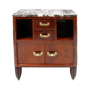 an important french art deco burl elmwood 2-drawer commode with marble top; signed george guerin - dated 1914, paris