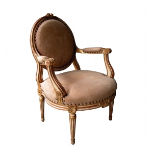 a large-scaled and elegant french louis xvi style ivory painted and parcel gilt oval back open armChairs
