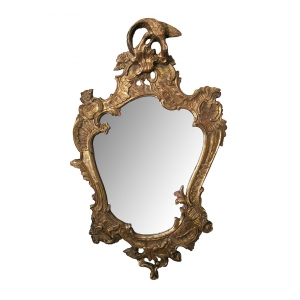 a curvaceous italian rococo style cartouche-shaped carved giltwood mirror
