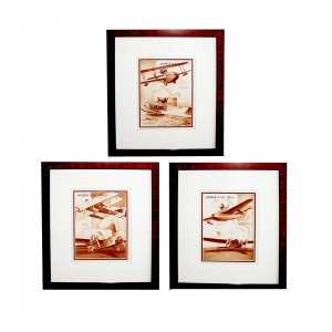 an unusual set of 3 french 1930's sepia tone lithographs of airplanes