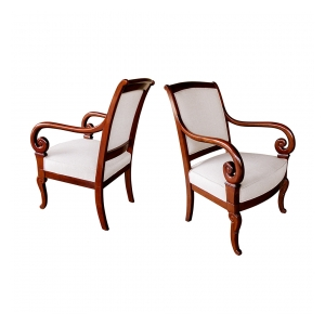 a gracefully proportioned pair of french restauration mahogany armChairss