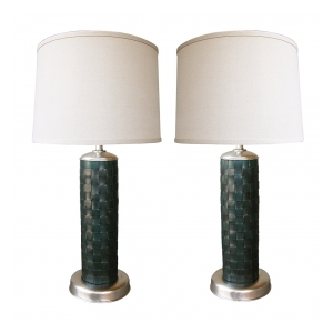 a stylish pair of american 1940's cylindrical-form leather-clad lamps