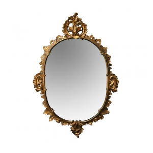 an elegantly carved  french louis XV rococo giltwood oval mirror