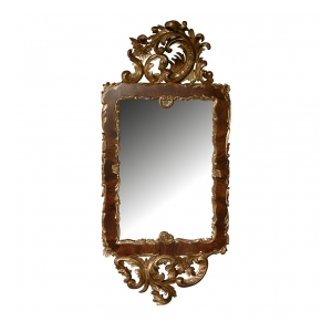 a curvaceous danish rococo style burl walnut and carved giltwood mirror with exuberant rocaille carving