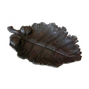 a boldly-scaled american arts & crafts cast iron oak leaf bowl