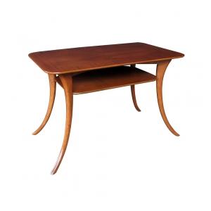 a stylish american mid-century rectangular walnut side table; maker's label 'widdicomb designed by th robsjohn gibbings'