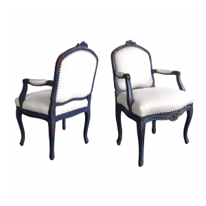 pair of french rococo blue-gray painted armchairs with rocaille carving