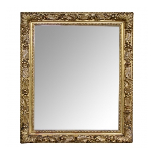 a deeply carved italian neoclassical style rectangular giltwood mirror with laurel and oak leaf decoration