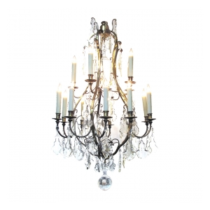 a large-scaled and good quality french louis XVI style gilt-bronze basket-form 2-tiered 15-light chandelier with crystal pendants