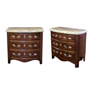 a handsome of danish empire style mahogany 3-drawer marble-topped bow-front chests with brass inlay and bronze mounts