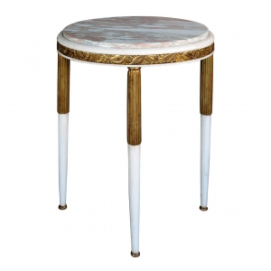 a chic french art deco gessoed and parcel-gilt circular side table with norwegian-rose marble top