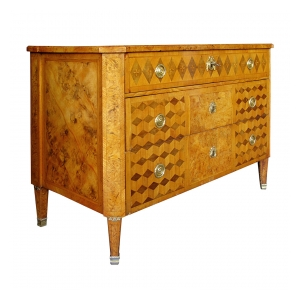 a handsome swedish gustavian alder root parquetry 3-drawer chest