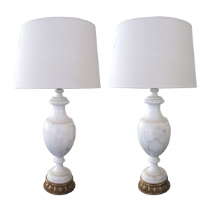 a large-scaled and elegant pair of italian urn-form carrera marble lamps
