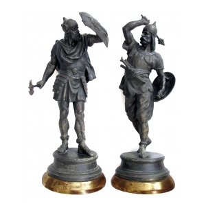 a well-executed pair of english spelter figures of visigoth warriors