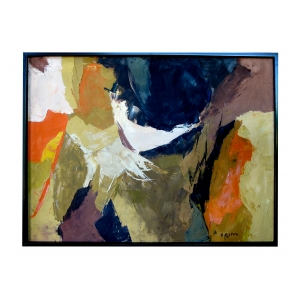 "an eloquent american 1960's abstract expressionist painting; signed Mitchell  (Kit Mitchell listed as ""Artist of the Month 1963"" by Community Arts and Crafts, CA)"