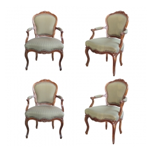 an elegant and well-carved set of 4 french louis xv style walnut open armChairss