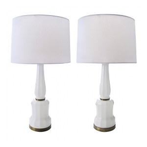 a fine and striking pair of danish 1950's white opaline baluster-form lamps by bing & groendahl heiberg