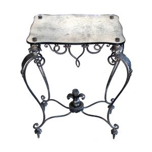 an elegant and stylish french 1940's iron and tole side Tables with mirrored top; by rene drouet