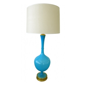 a tall and slender swedish mid century vibrant blue art glass bottle-form lamp; for marbro, co.