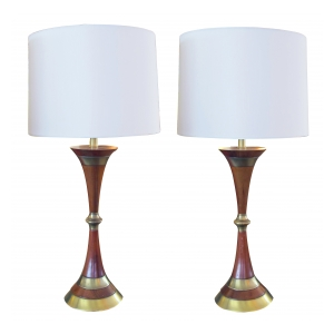 a shapely and handsome pair of danish mid-century walnut and brass hour-glass shaped lamps