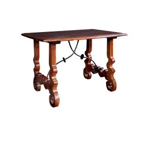 a rustic and well-patinated spanish baroque style walnut trestle Tables with iron stretcher