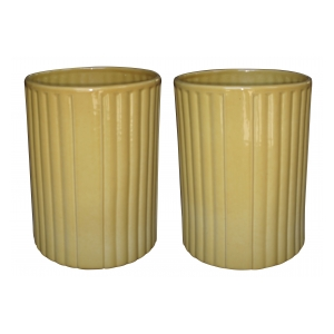 a large-scaled pair of american 1940's golden-yellow glazed ceramic umbrella jars; designer Harold Holman, Alamo Pottery, San Antonio, Texas