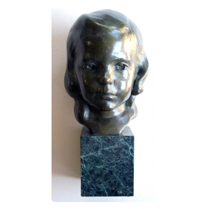 a beautifully rendered american 1940's bronze bust of a young girl on marble plinth; signed 'J.G. Kendall 1940, Gorham Co. Founders'