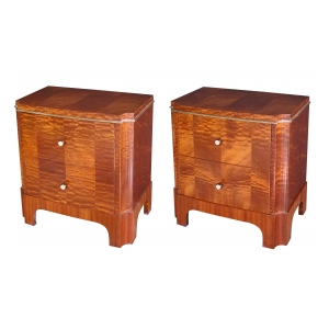 a good pair of french art deco mahogany 2-drawer commodes