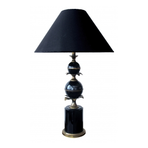 a stylish french 1940's black tole lamp with brass foliate mounts