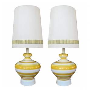a vibrant and large-scaled pair of italian 1960's ovoid-shaped ceramic lamps with bold horizontal striping