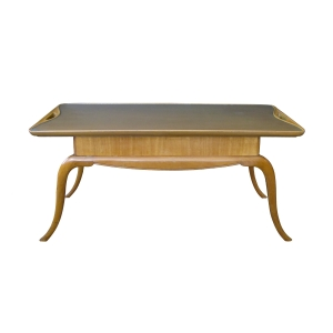 stylish italian mid-century pearwood cocktail table with graceful splayed legs