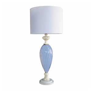 a tall and striking italian mid-century periwinkle art glass lamp with carerra marble mounts; made for Marbro Lighting, Los Angeles