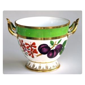 a good quality paris porcelain polychromed double-handled cache pot/jardiniere