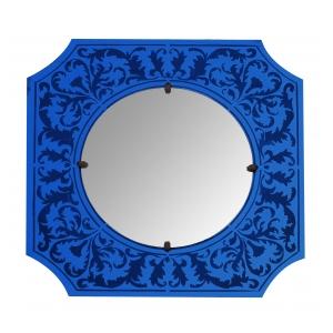 a stylish american art deco bulls-eye mirror with etched cobalt blue frame