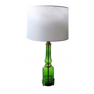 a good quality french 1940's apple-green crystal lamp with gilt-bronze mounts; foil label 'cristal et bronze, paris'