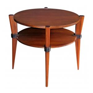 a chic french 1940's ribbon-mahogany circular side table with ebonized highlights