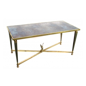 a stylish and good quality french mid-century neoclassical style brass coffee table