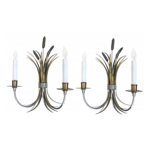 a stylish pair of french mid-century nickel, brass and bronze sconces of tied cattails; by maison charles, paris (stamped 'charles')