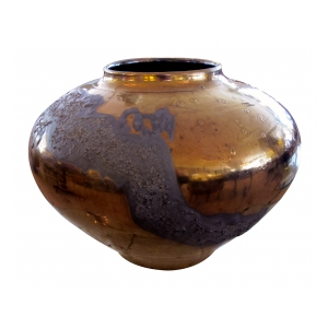 a large-scaled and impressive american 1960's copper metallic-glazed ceramic vase
