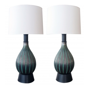a pair of danish charcoal-grey and green glazed ribbed ceramic lamps; labeled 'M.A.&S Denmark 4774'